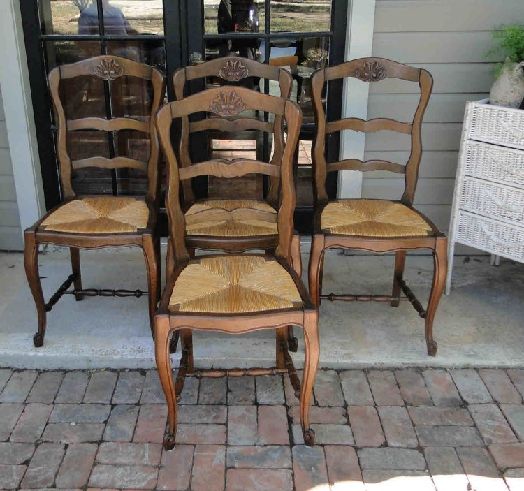 Antique French Country Ladder Back Dining Chairs Carved
