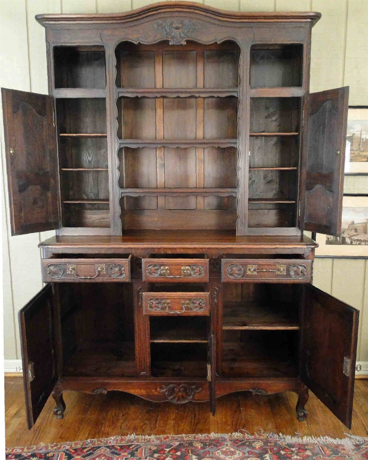 Antique French Country Armoire Wardrobe - Carved Oak 4 ...