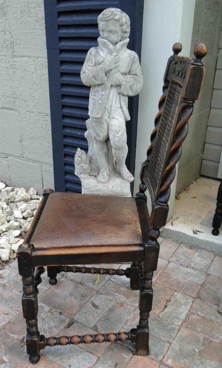 SET 6 Antique ENGLISH Oak Barley Twist Dining Chair ...