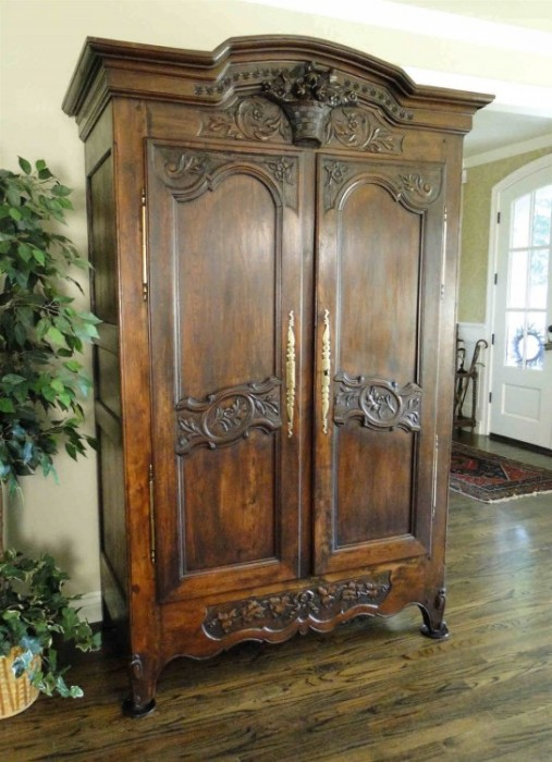 Antique French Country Highly Carved Wedding Armoire