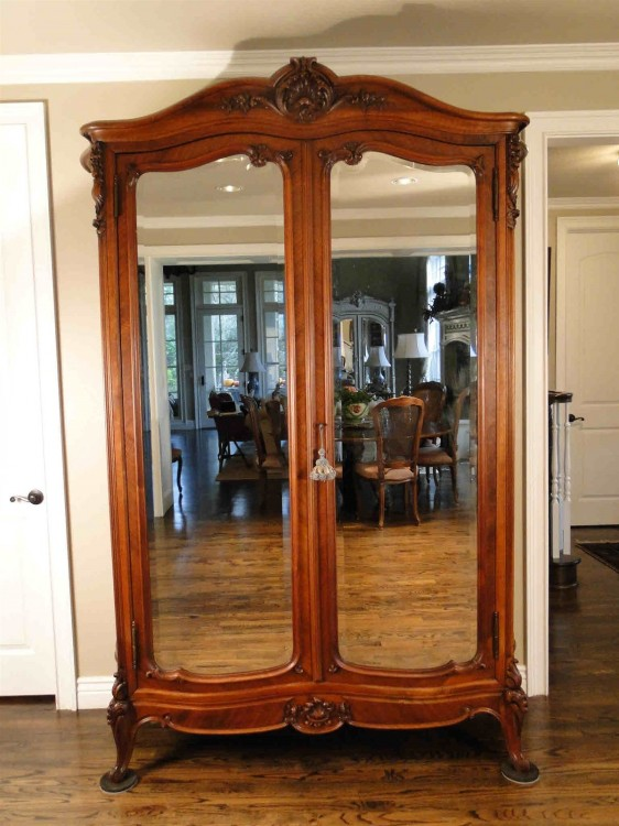 Antique Wardrobe Armoire French Country Beveled Mirrors ...