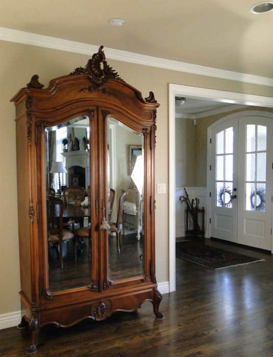 Antique French Wardrobe Armoire Beveled Mirror Carved ...