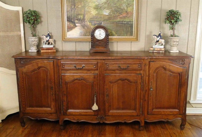 Antique Country French Buffet Sideboard Server Carving Parquet Top Dark Oak Old
