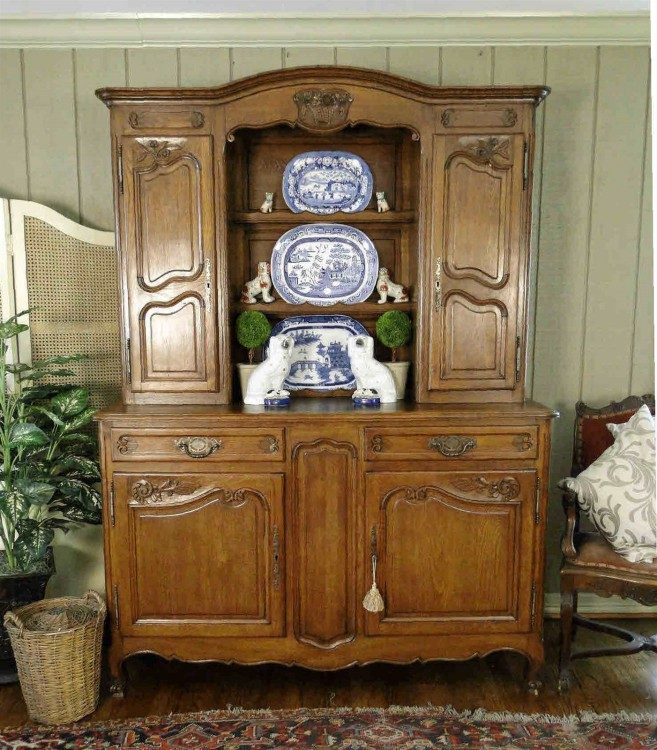 Antique Kitchen Hutch And Buffet: Antique French Country Buffet Hutch Server Sideboard Plate