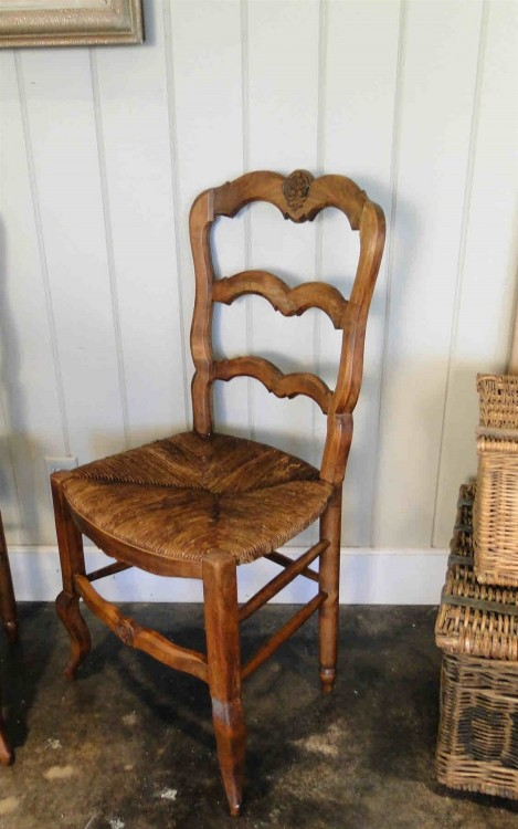 Antique French Dining Chairs Carved Oak Ladder Back