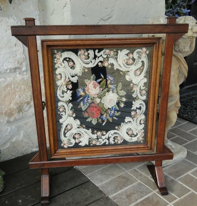 Antique Victorian Firescreen Floral Needlepoint Fireplace Oak Ebay